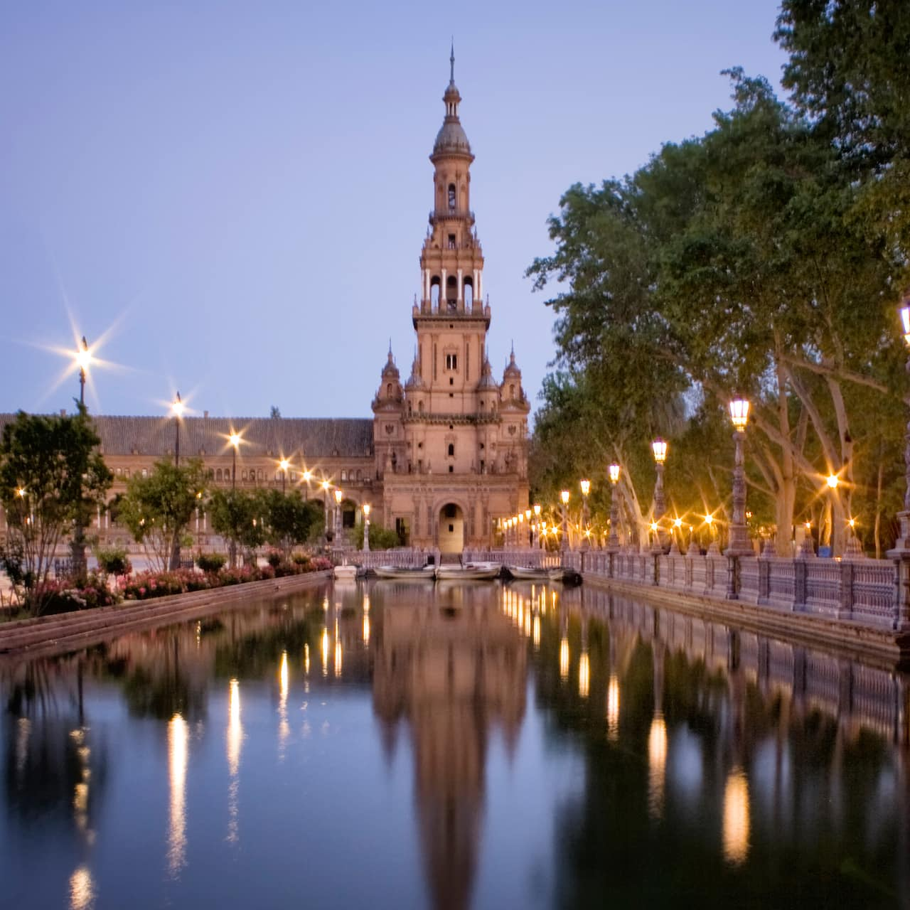 The Plaza de España at twilight