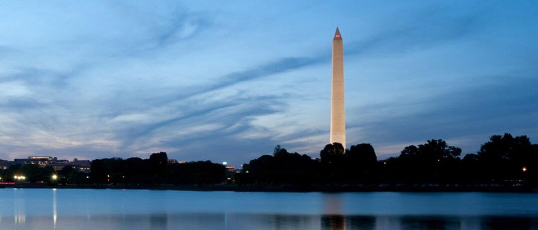 The Washington Monument at twilight