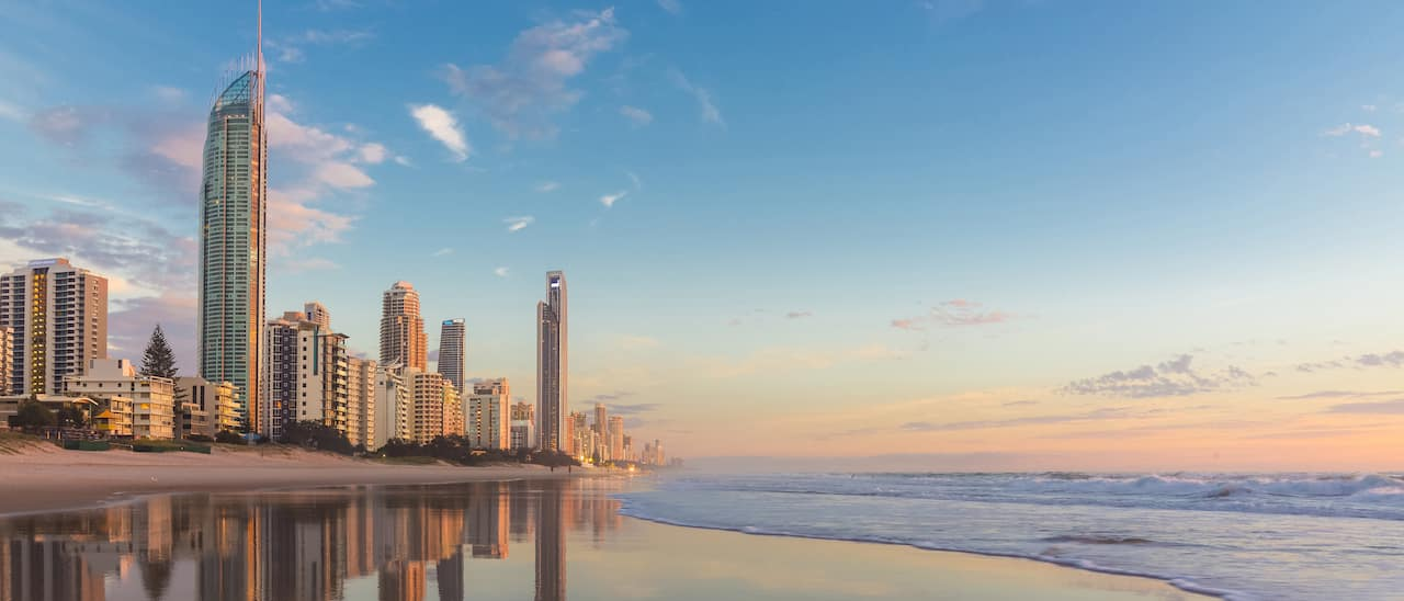 Skyscrapers create the dramatic skyline of the Gold Coast