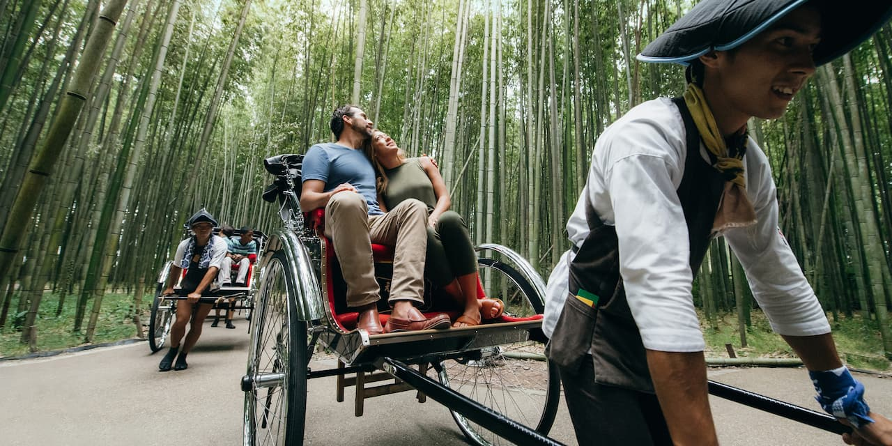A hand-pulled rickshaw driver takes a couple through a forest of bamboo trees