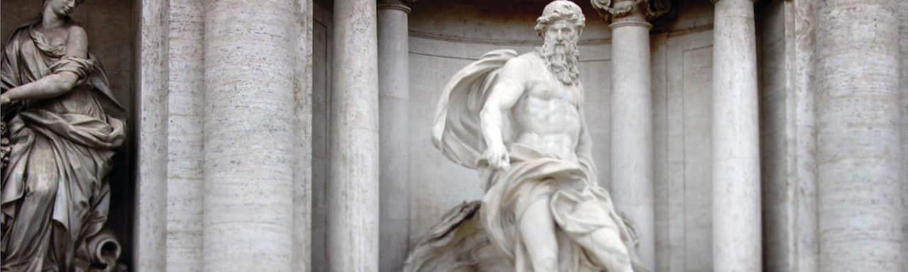 The statue of Oceanus in Rome's famed Trevi Fountain