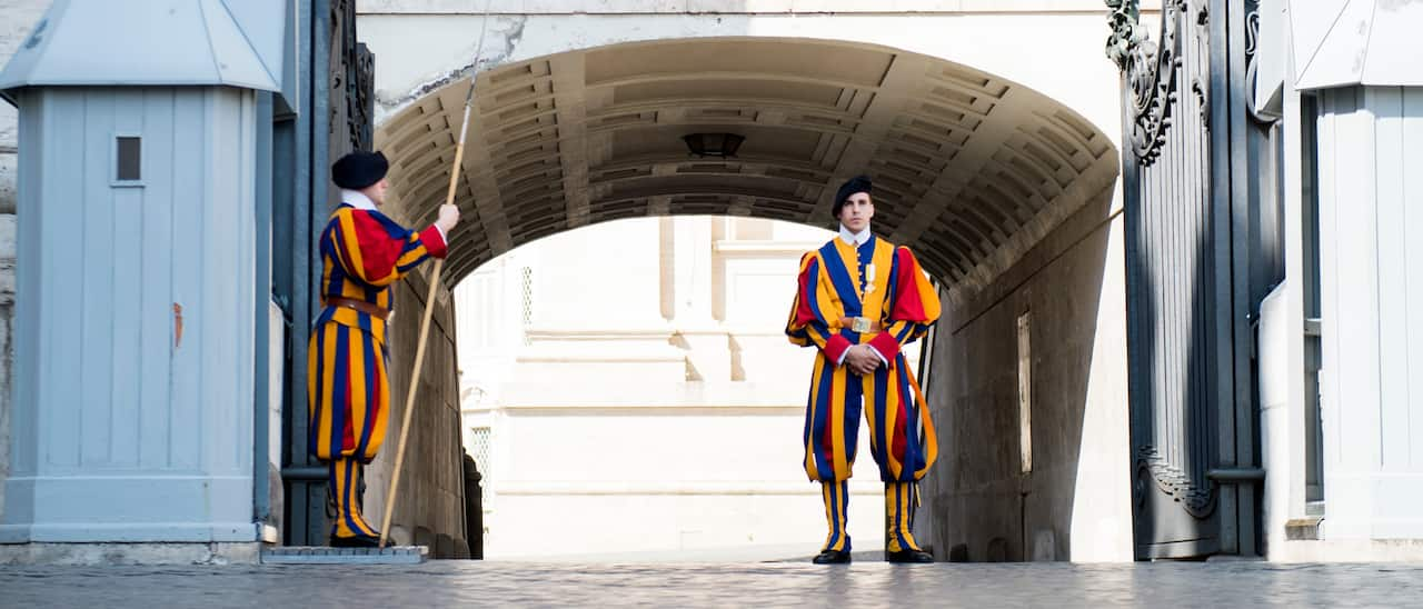 Two members of the Swiss Guard at their post in Vatican City