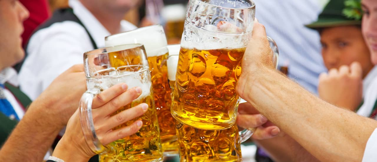 Four steins of beer are raised in a toast
