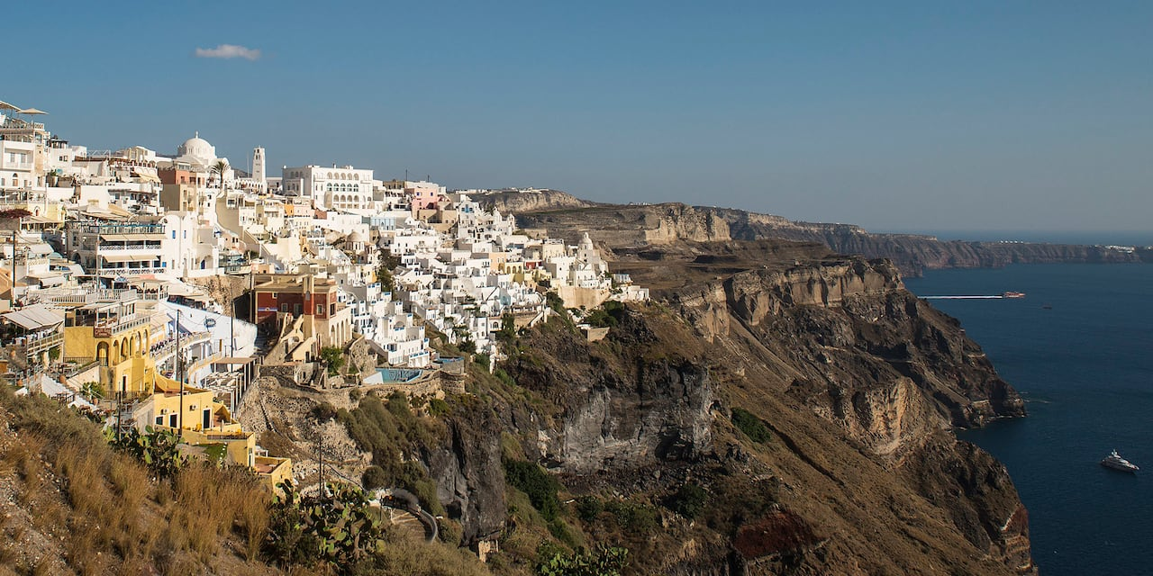 A mountain village on the island of Crete, Greece, overlooks the sea