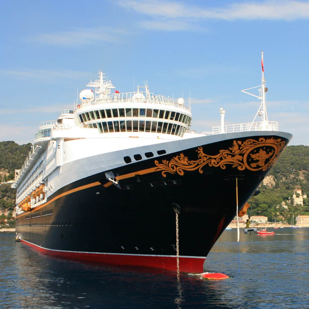 The Disney Magic cruise ship in a harbor