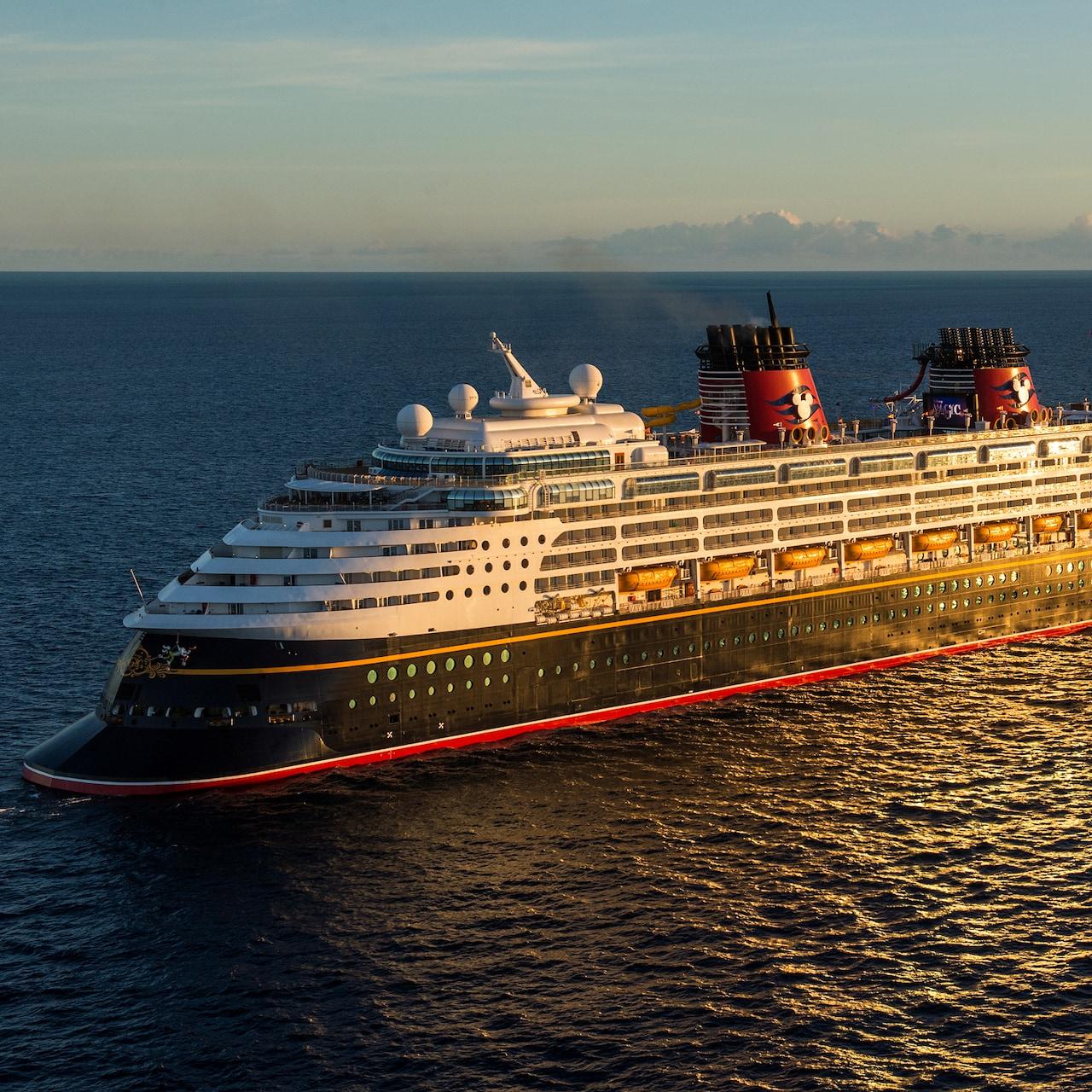 The Disney Cruise Line cruise ship, Disney Magic, sails across the sea