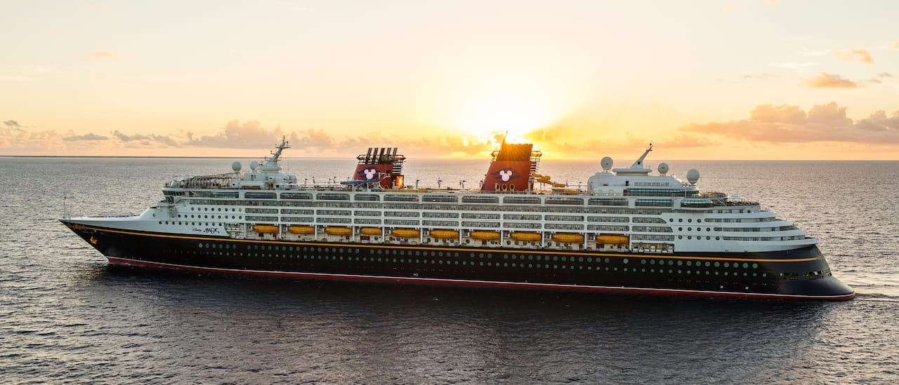 The Disney Magic cruise ship at sea