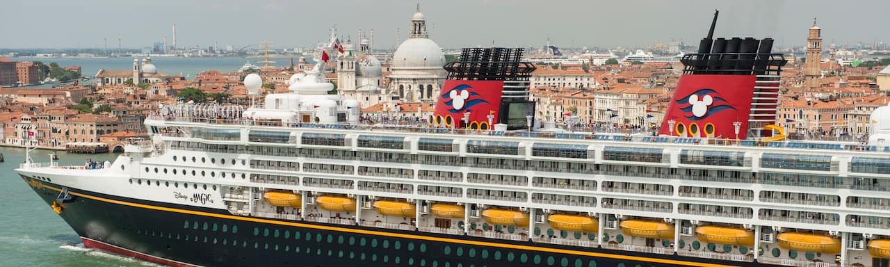 The Disney Magic cruise ship sails to port in Rome, Italy