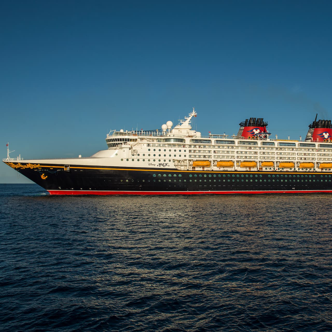 The Disney Cruise Line cruise ship, Disney Magic, at sea
