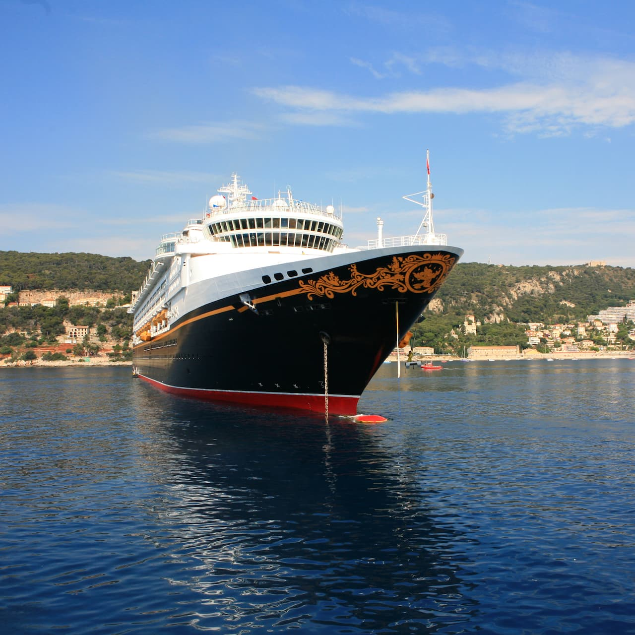 The Disney Cruise Line cruise ship, Disney Magic, anchored off shore
