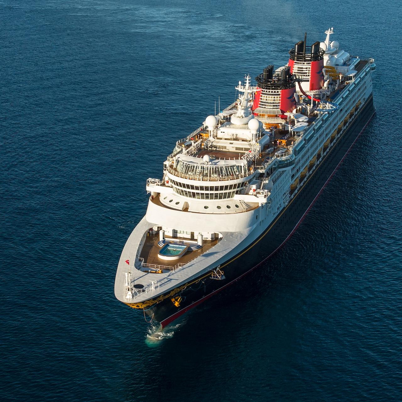An aerial view of the Disney Magic cruise ship at sea