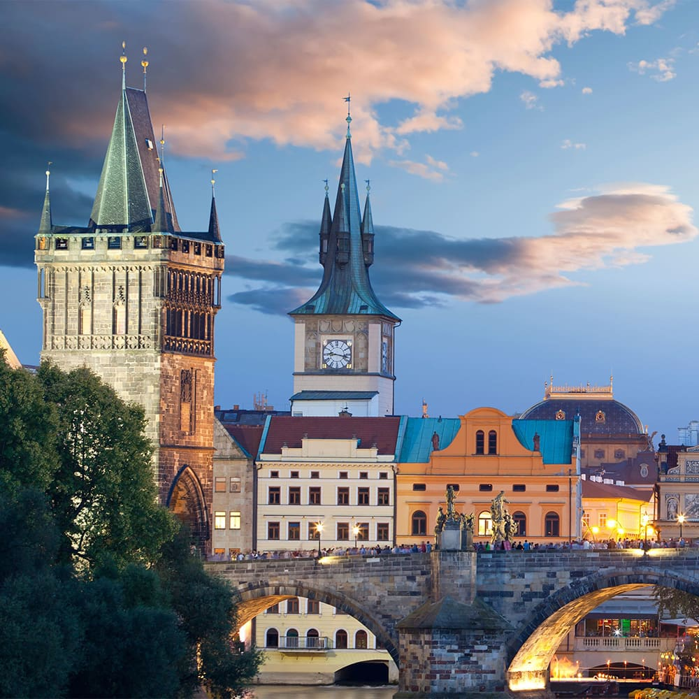 The Charles Bridge in the picturesque city of Prague
