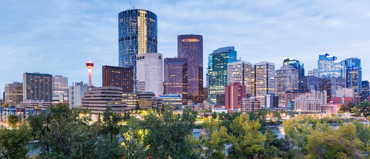 The skyline of the city of Calgary in Alberta, Canada