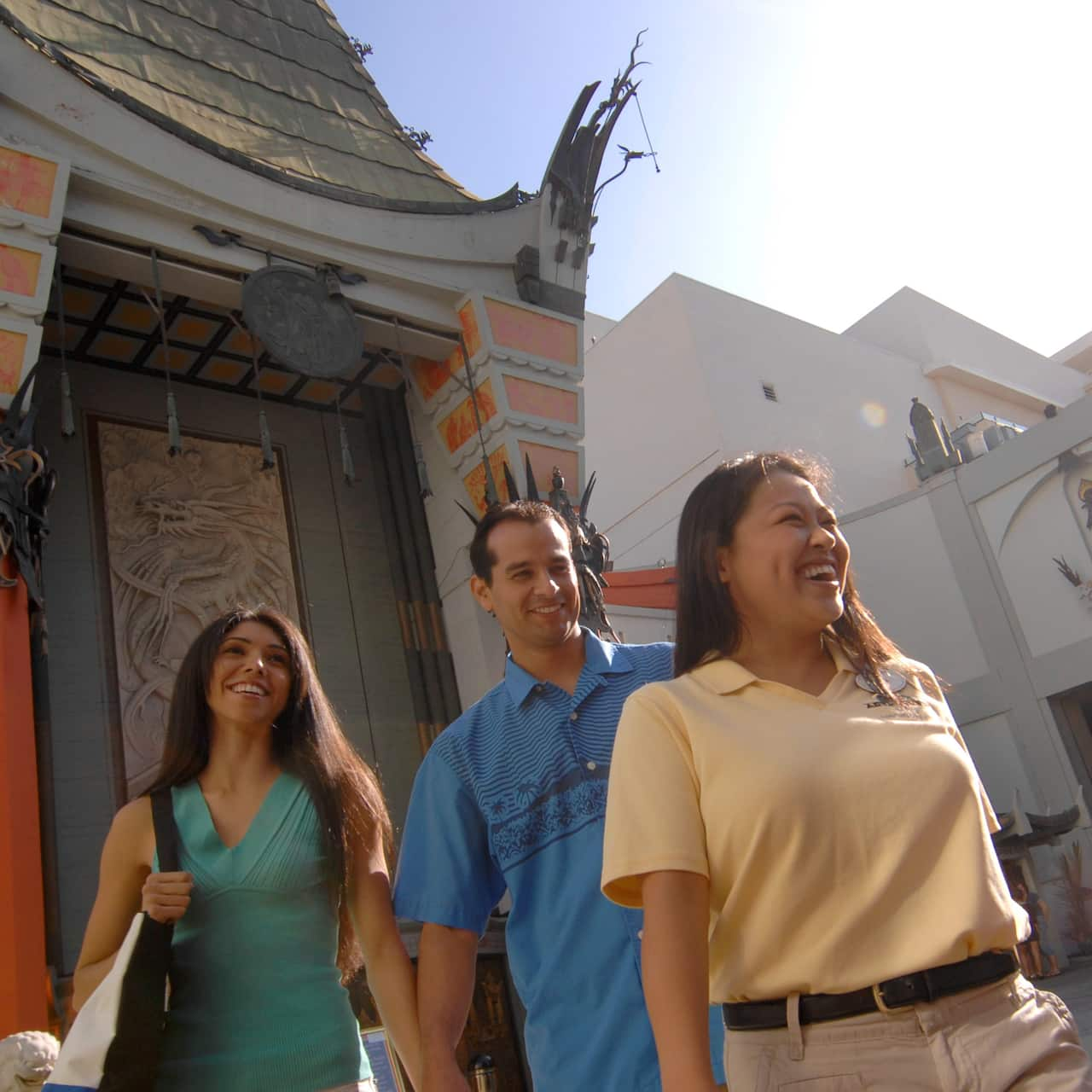 Tourists outside the TCL Chinese Theatre in Hollywood