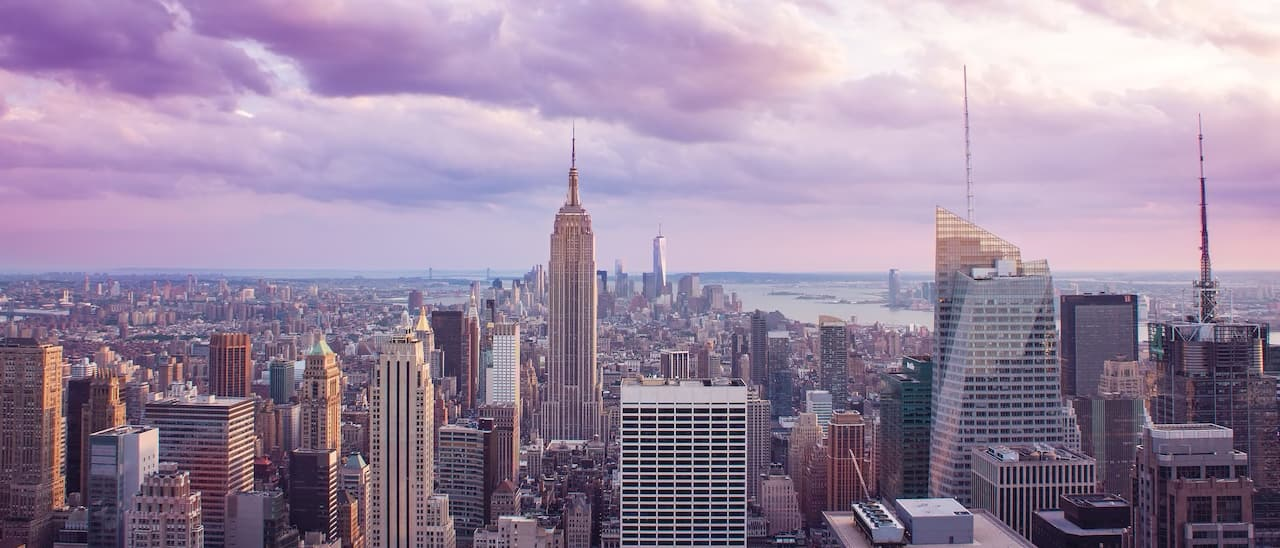 The skyline of New York, including the Empire State Building