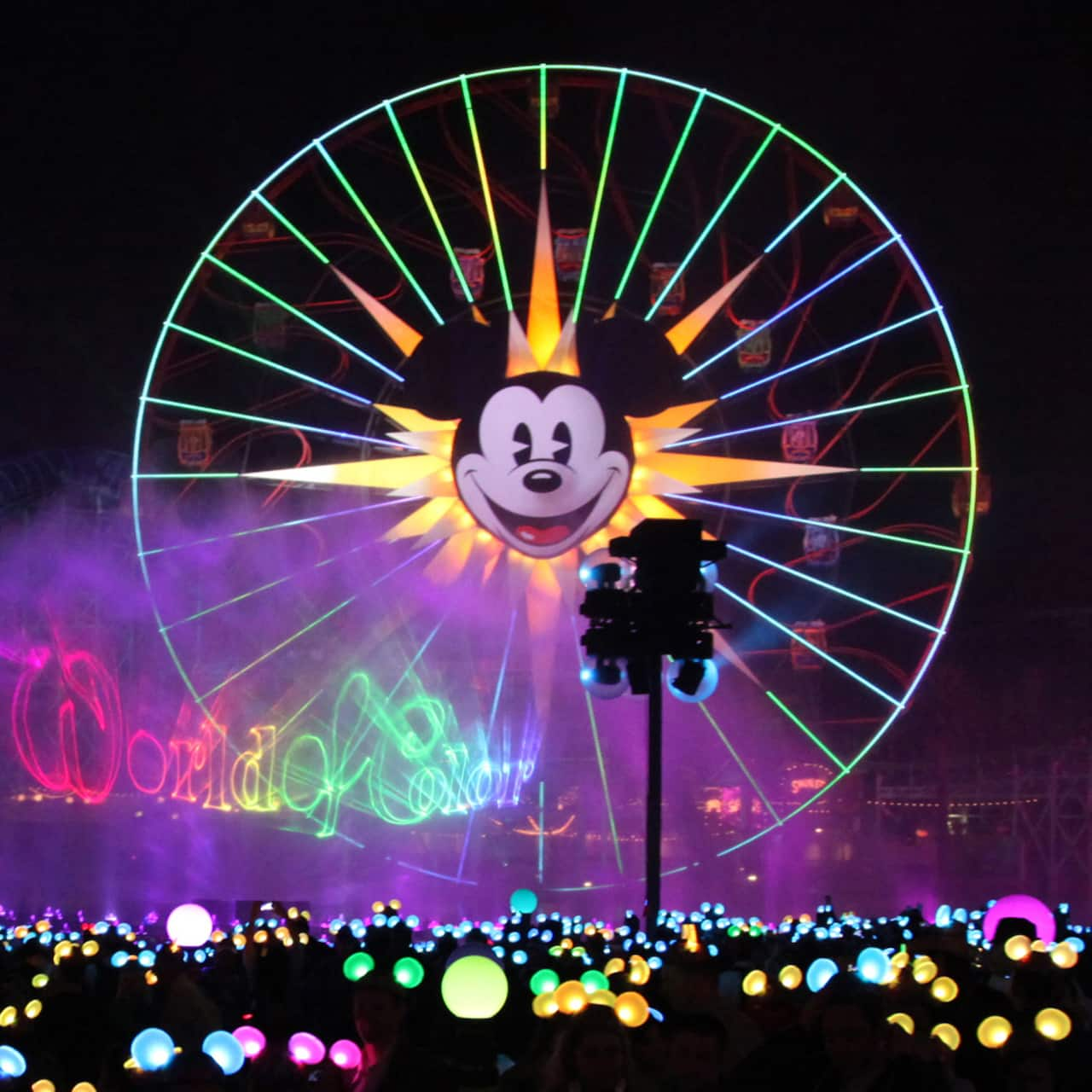 Dancing lights, streams of fire and an array of colors on the waters of the World of Color show at Disney California Adventure
