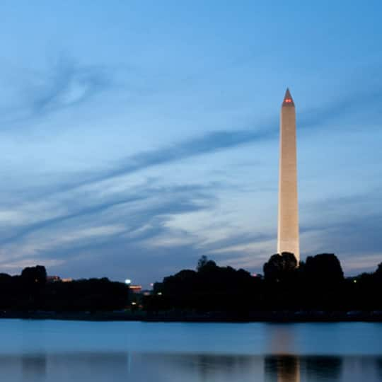 The Washington Monument at twilight