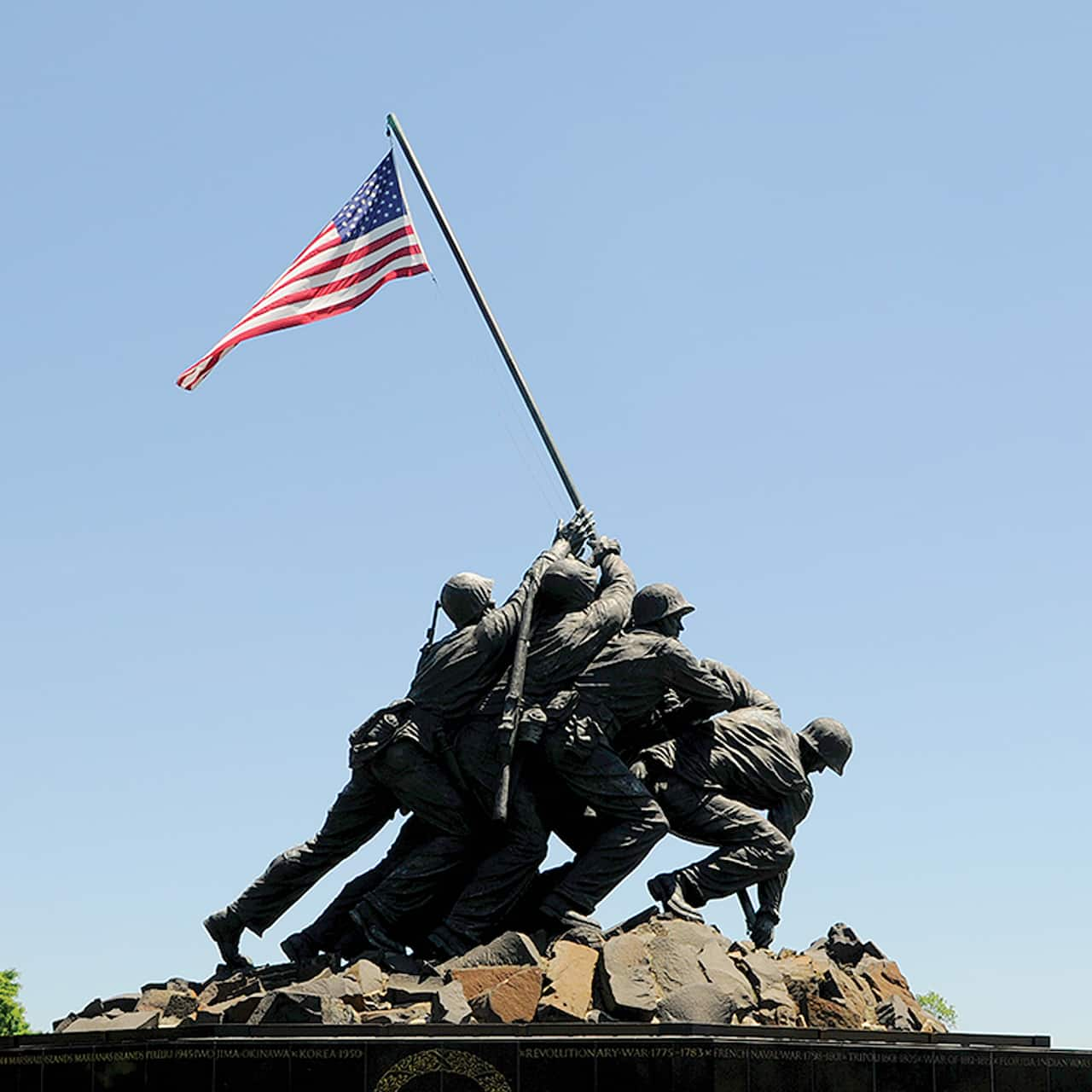 The statue of U.S. soldiers raising the flag at Iwo Jima