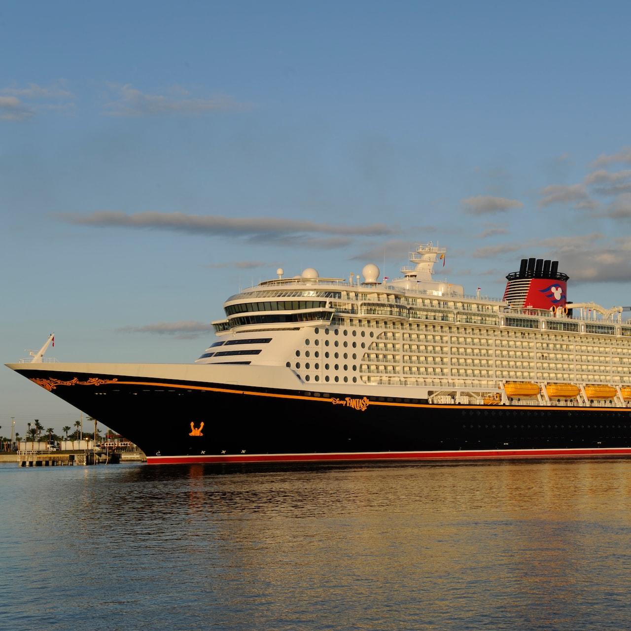 The Disney Cruise Line cruise ship, the Disney Fantasy, sails across the sea