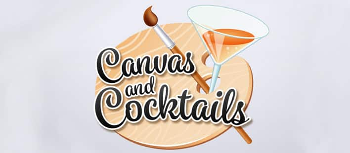 An illustration of a paint palette with a paint brush, martini glass and the words: Canvas and Cocktails