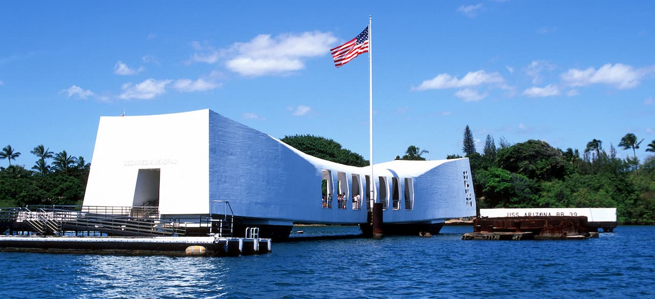 The USS Arizona Memorial at Pearl Harbor