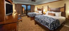 A standard room at Aulani with 2 queen beds
