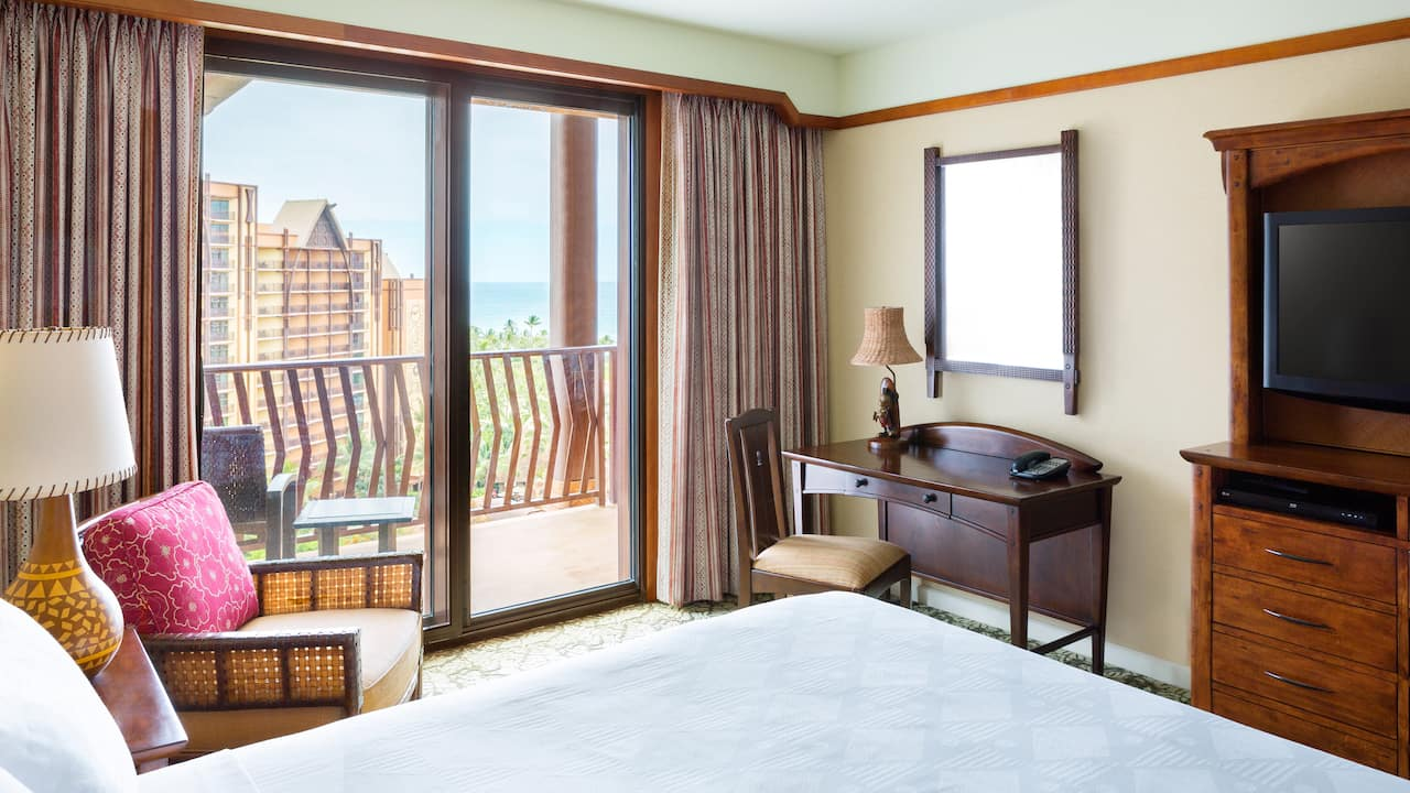 The bedroom of a 1-bedroom suite at Aulani Resort