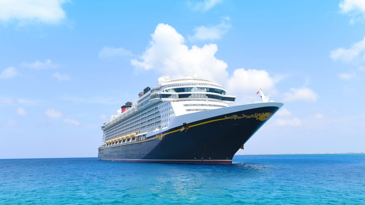 The Disney Cruise Line ship, Disney Fantasy, sails across the sea