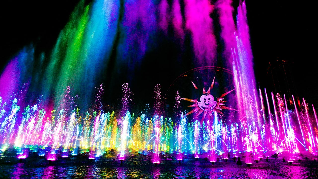 El espectáculo de agua, luz y música World of Color, en el parque Disney California Adventure