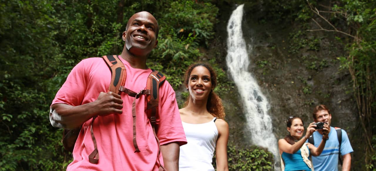 Two couples on an Aulani hiking excursion visit a waterfall