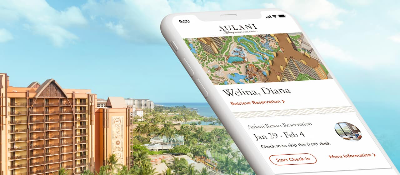 A cell phone showing the Aulani Resort App