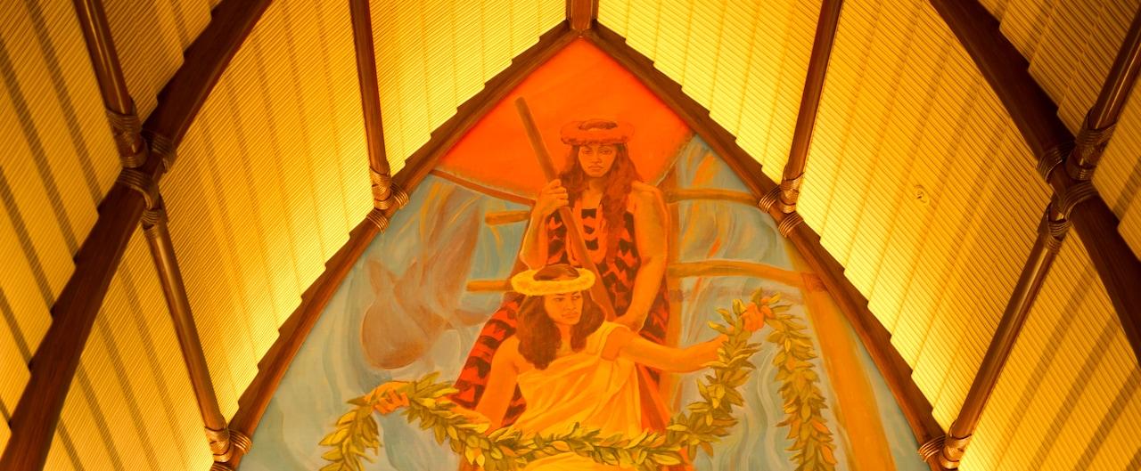 アウラニ・リゾートのロビーにあるハワイの壁画
