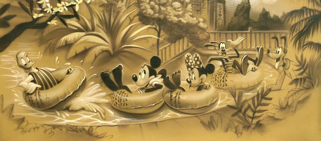 3泊以上でもらえる限定アウラニアート「ミッキー&フレンズと水遊び」