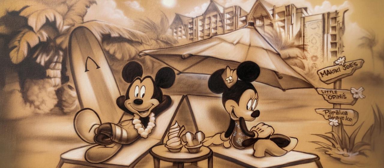 ミッキーとミニーがデッキチェアでリラックスする様子のアート