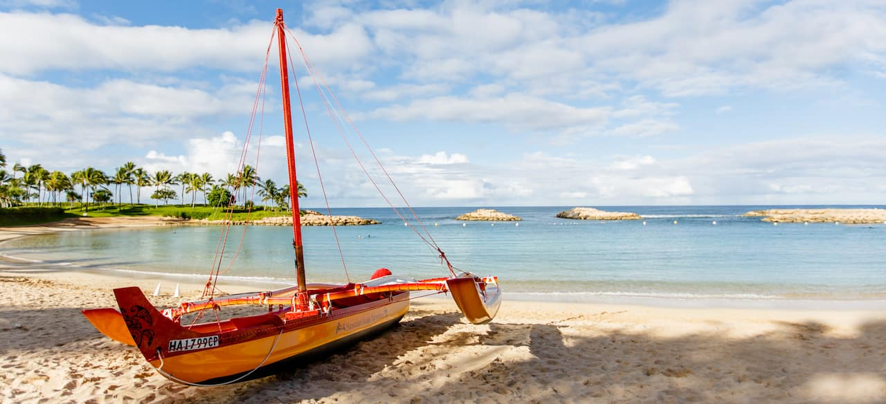 A sailing canoe on a sandy tropical beach, near the water's edge