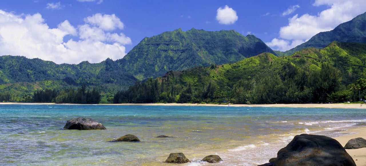 A massive mountain range covered in vegetation towers over a pristine beachfront