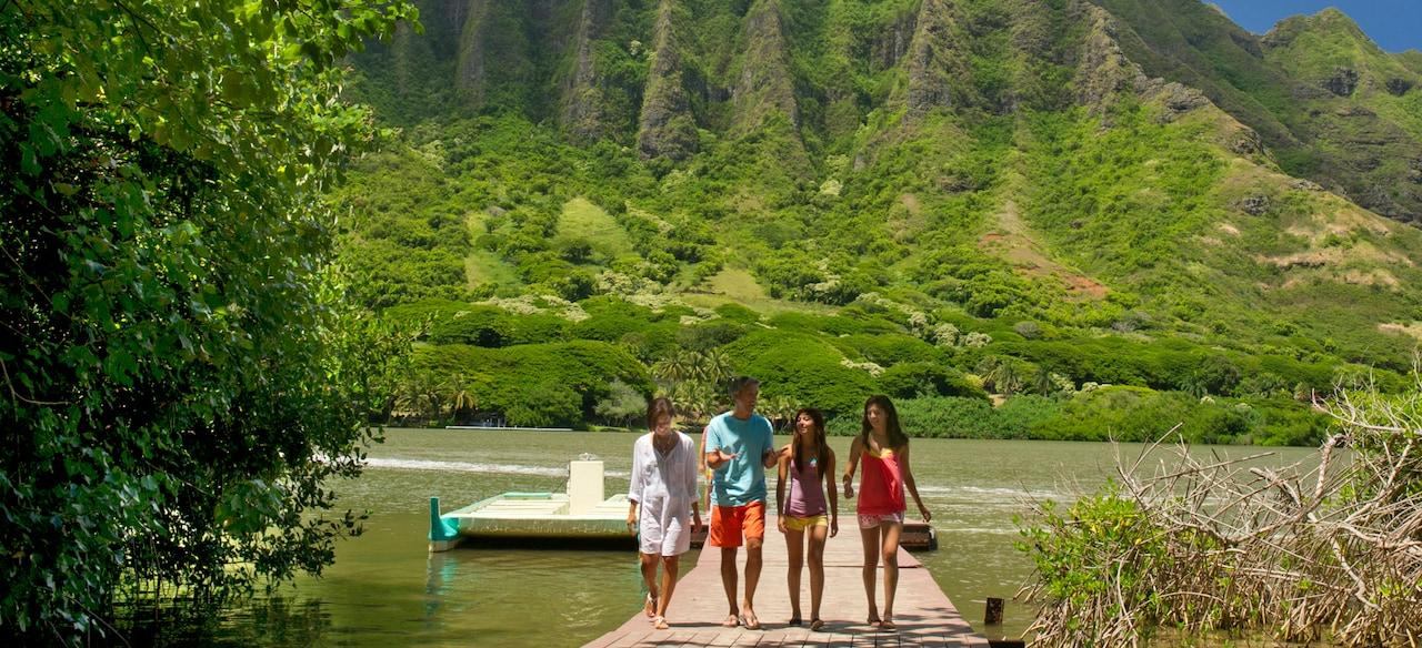 草木に覆われた緑の山並みを背景に、桟橋を歩く男性、女性、および 2 人のティーンの少女