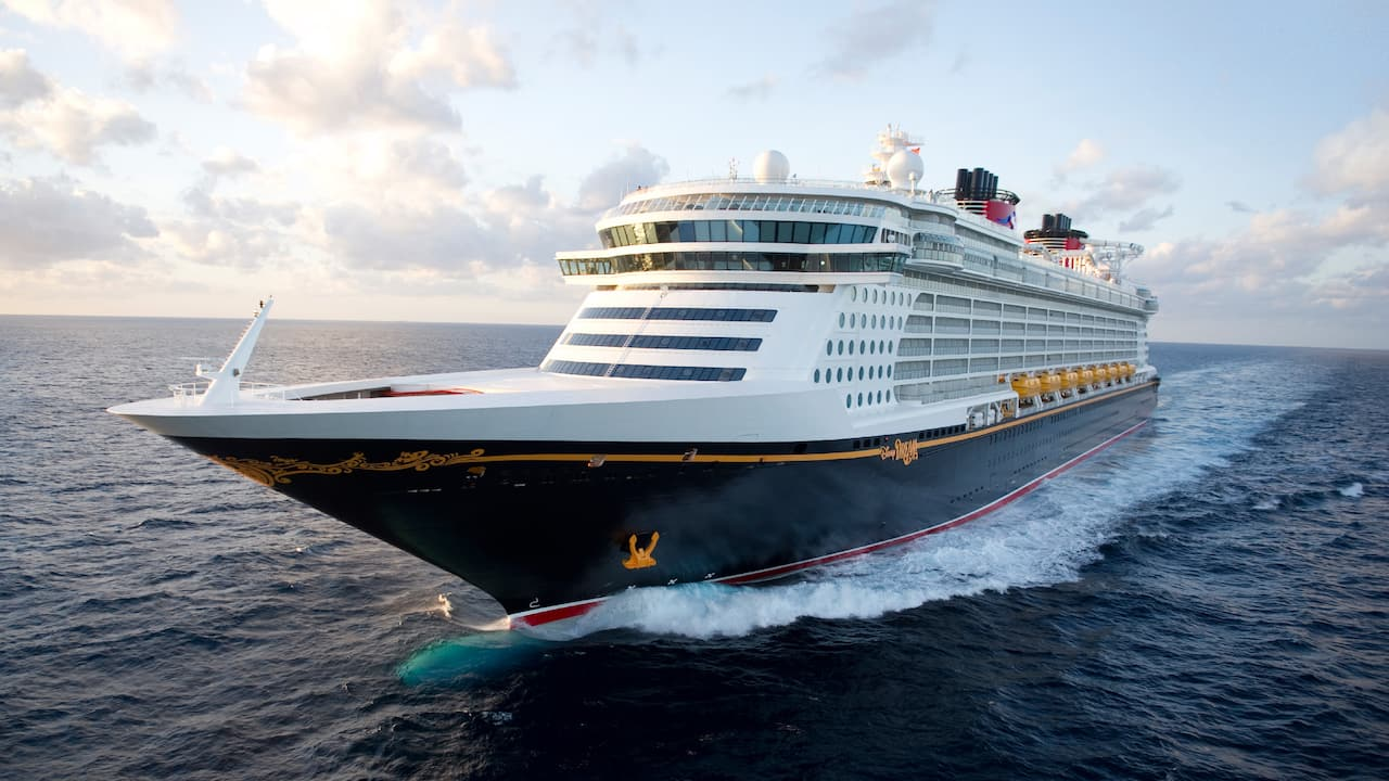 The Disney Magic cruise ship sails across the sea