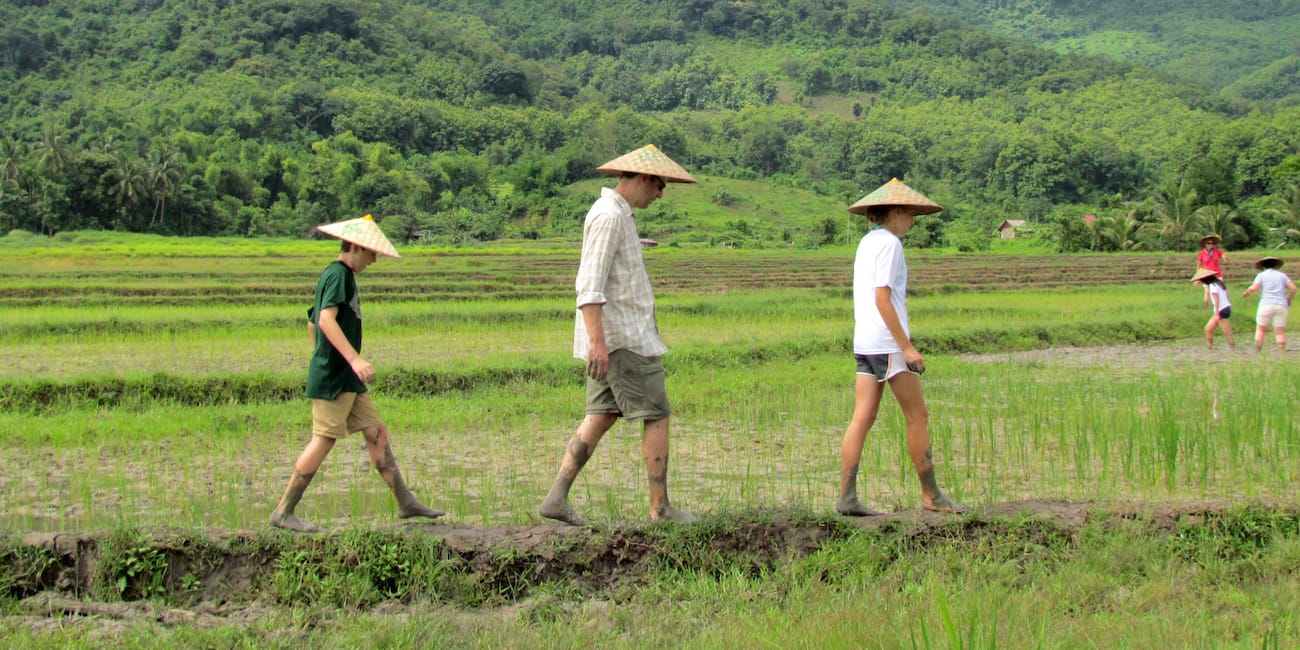 Nicholas Thomas and his two sons walking alone a rice paddy