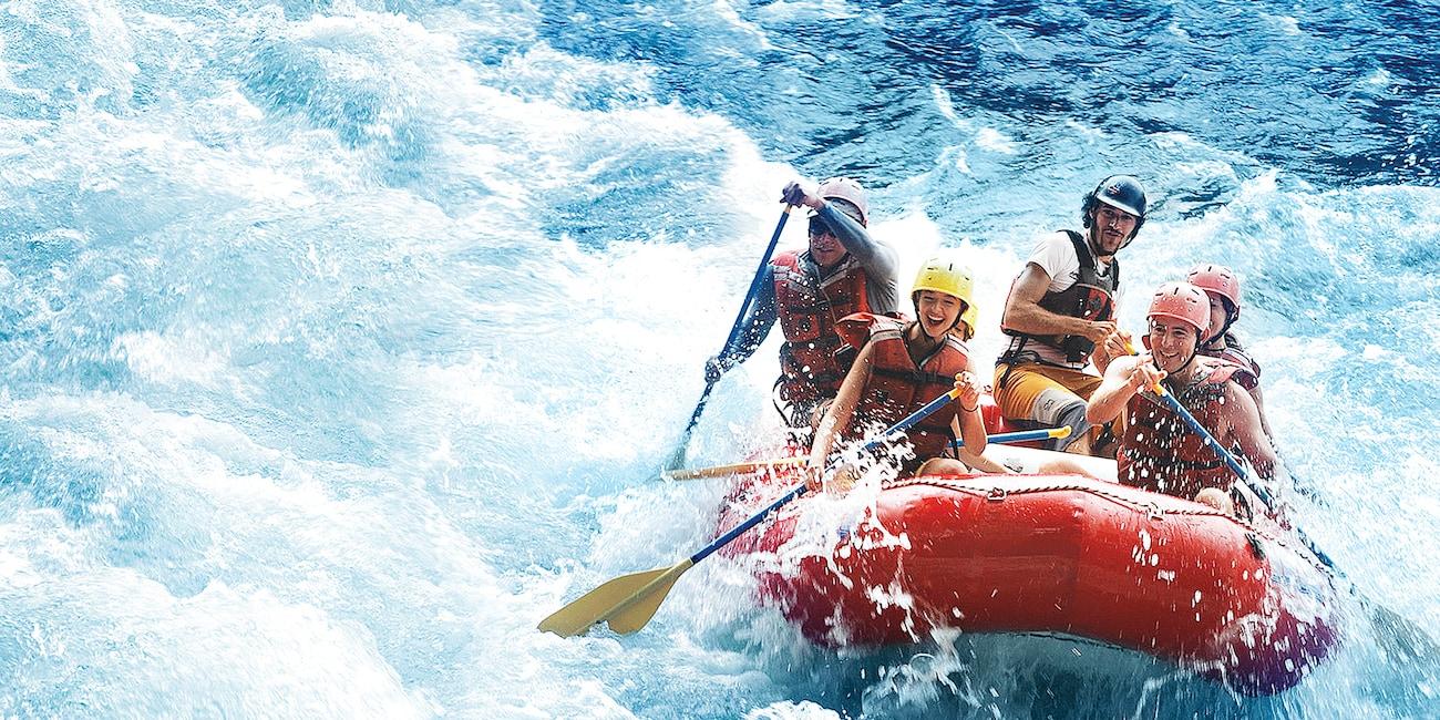Adventurers rafting on the Tenorio River