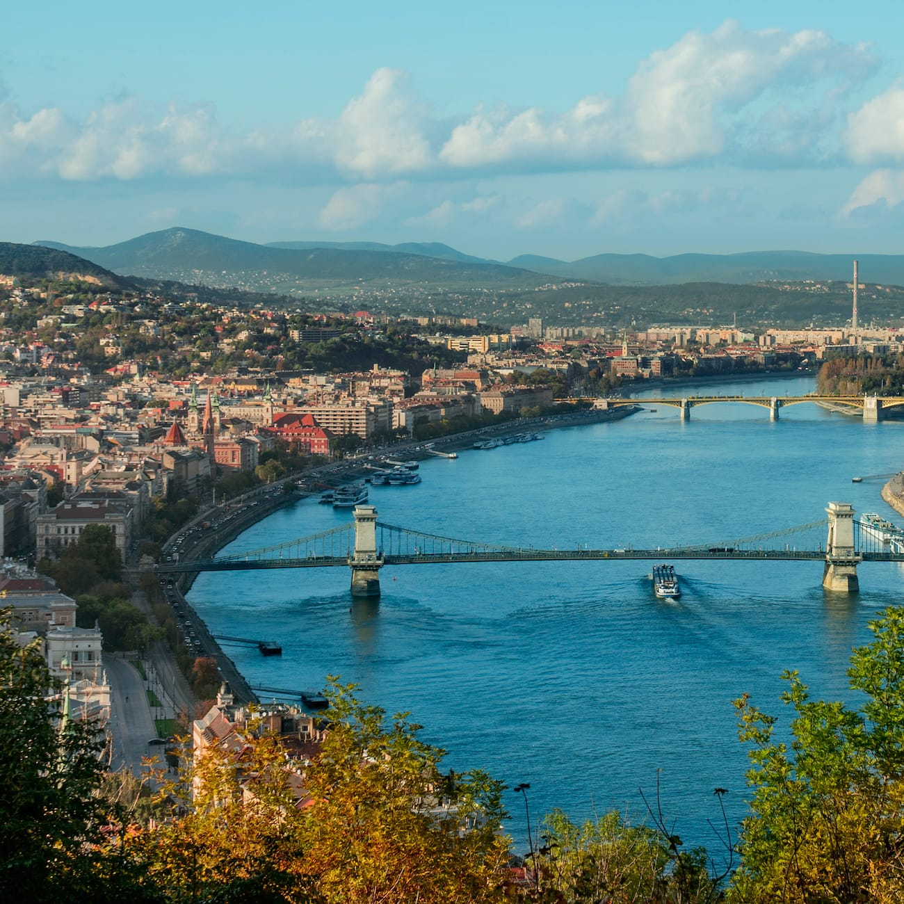 The Danube River with 2 bridges and city buildings on both shores