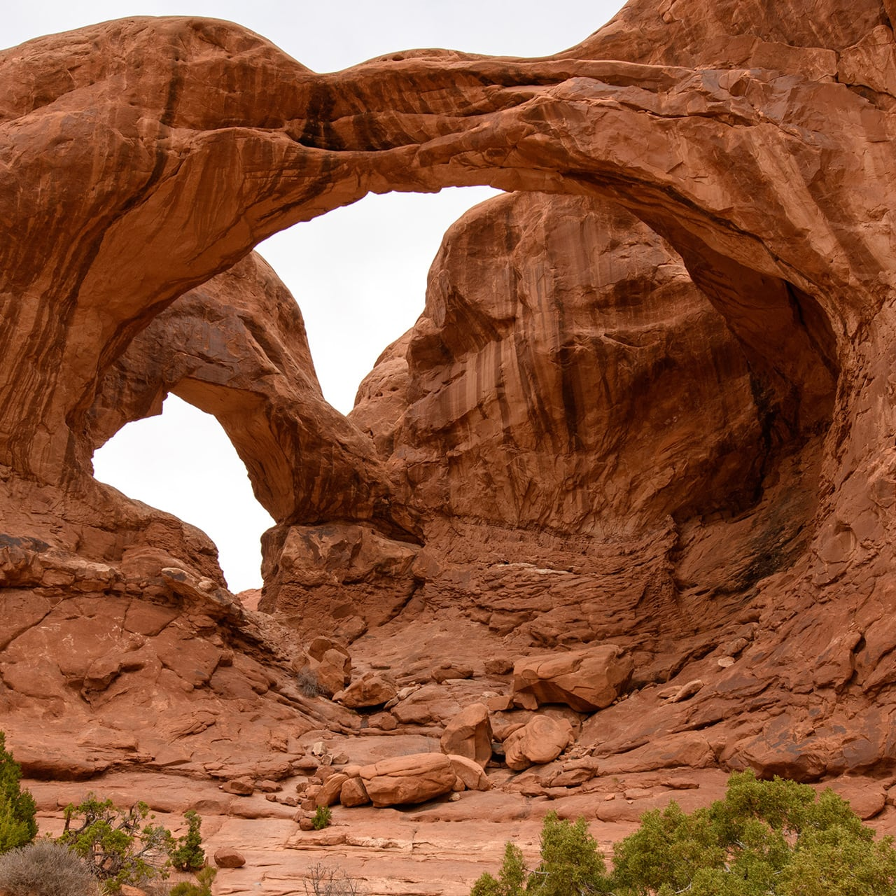Two arch rock formations in Moab, Utah