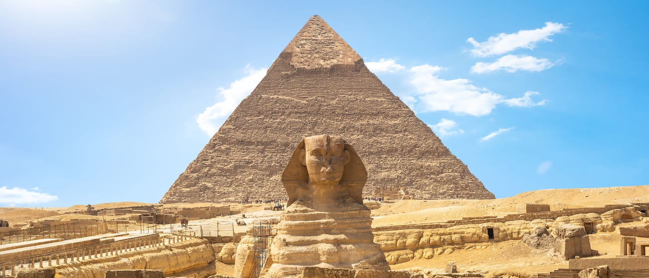 The Great Sphinx of Giza in front of the Pyramid of Khafra