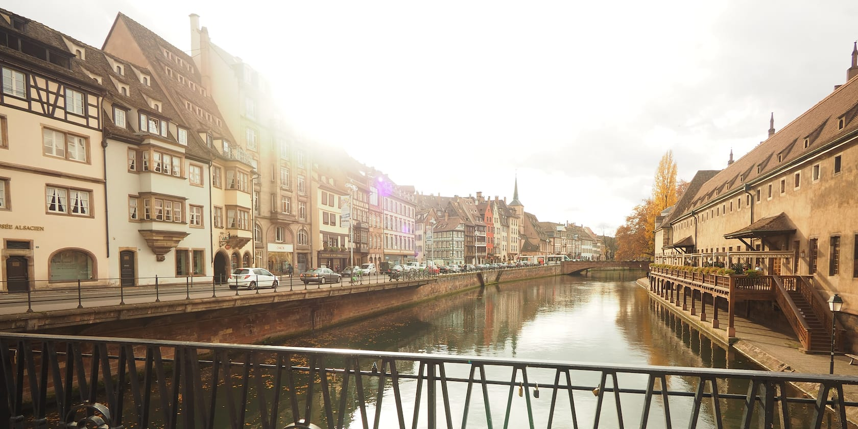 A canal flows through the town of Strasbourg, France