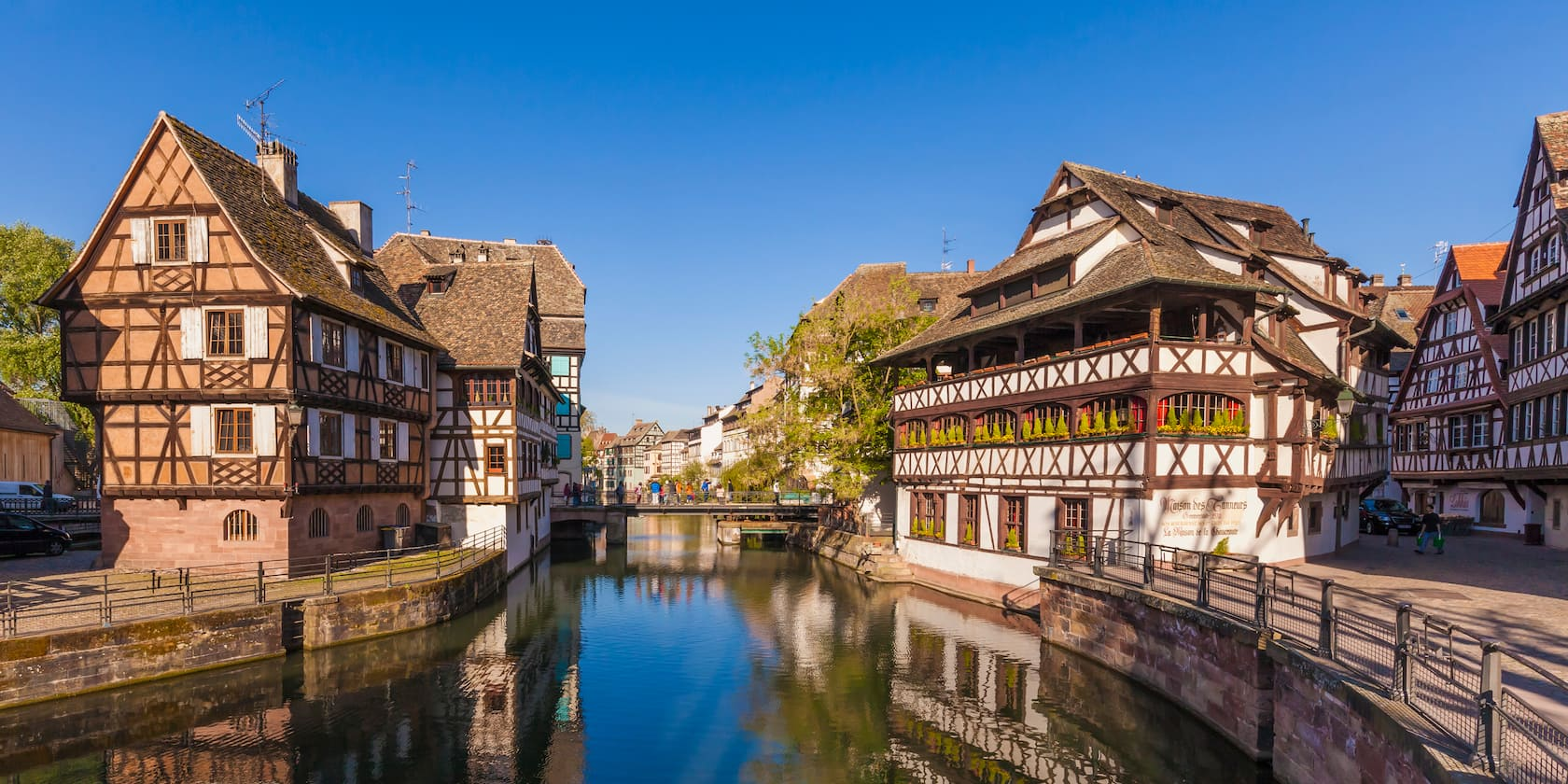 A waterway through the center of old Strasbourg, France