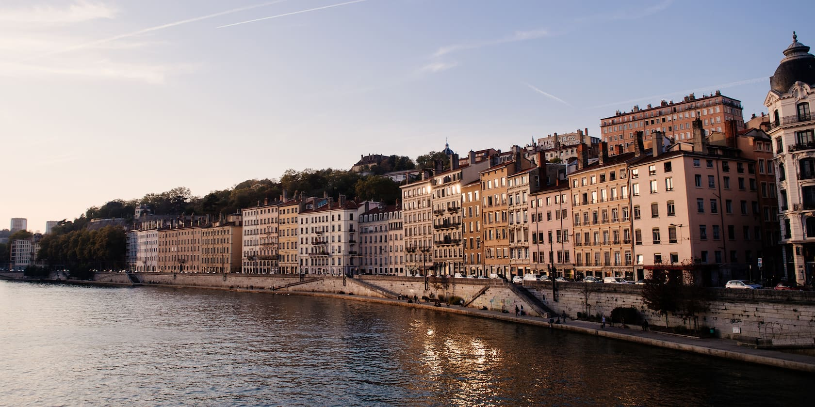 Buildings on a bank of the Rhône River in Lyon, France