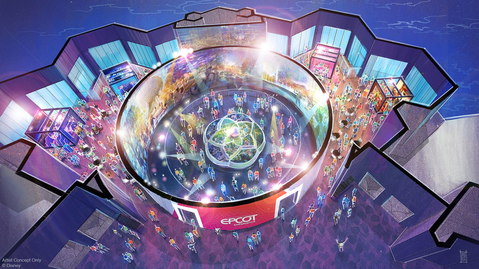 An artists rendering of the exhibits on display at Walt Disney Imagineering Presents the Epcot Experience