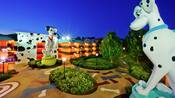 Two Dalmatian statues flank a courtyard at Disney's All-Star Movies Resort