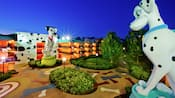 Two statues of Dalmatians at Disney's Art of Animation Resort