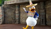 Donald Duck wears a poncho and a sombrero